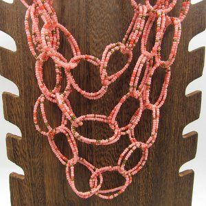 """Jewelry - 24"""" Tiered Pink Beaded Necklace Vintage Costume"""